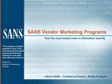 SANS Vendor Marketing Programs