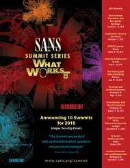 Announcing 10 Summits for 2010 - SANS Institute