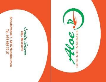 Aloe Gresunde Massage Visitenkarte 4-Seiten