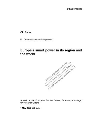 Europe's smart power in its region and the world - Europa