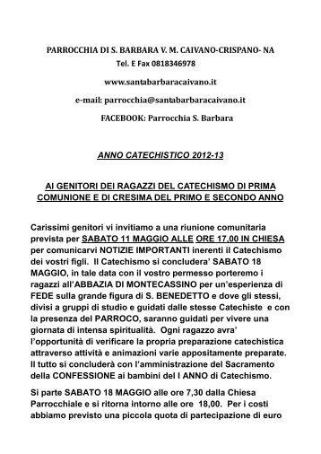 PARROCCHIA DI S. BARBARA V. M. CAIVANO-CRISPANO- NA Tel ...