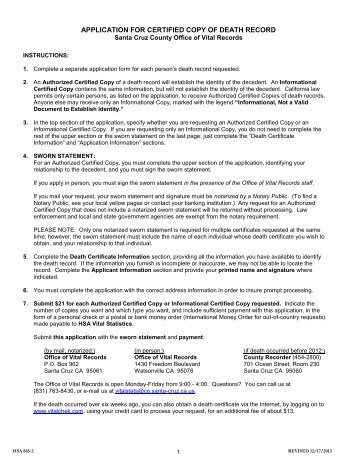 Death Certificate Request Form - Spencer County Government