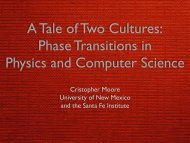 A Tale of Two Cultures: Phase Transitions in ... - Santa Fe Institute