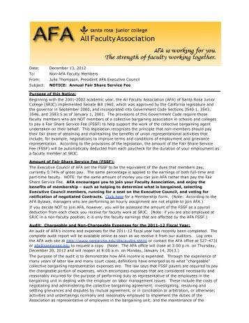 2011-12 NOTICE Fair Share Service Fee - Santa Rosa Junior College
