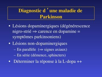 Diagnostic d 'une maladie de Parkinson