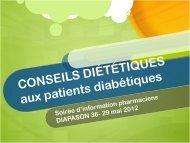 CONSEILS DIÉTÉTIQUES aux patients diabétiques