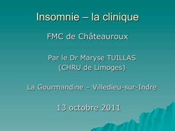 Insomnie – la clinique