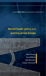 Mental health policy and practice across Europe - World Health ...
