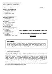 Recommandations pour la vaccination contre le pneumocoque par ...