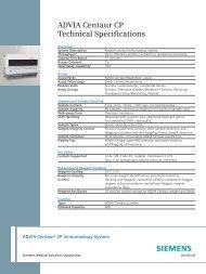 ADVIA Centaur CP Technical Specifications