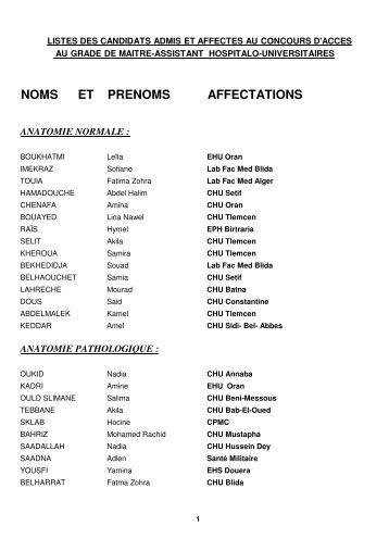 listes des candidats admis et affectes au concours ... - Santé Maghreb