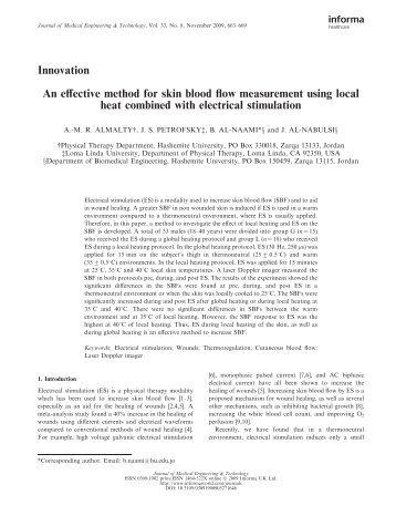 Innovation An effective method for skin blood flow measurement ...