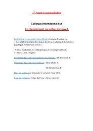 Appel à communication -colloque international sur ... - Santé Maghreb