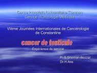 Cancer du testicule,expérience de Tlemcen