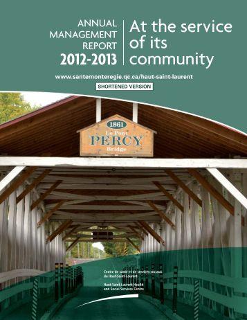 2012-2013 Annual report summary - Santé Montérégie