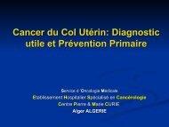 Cancer du col utérin Épidémiologie, diagnostic, traitement,dépistage