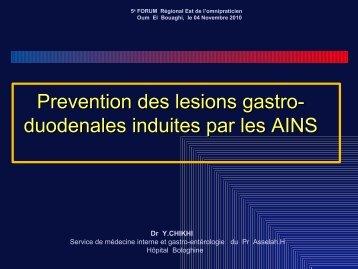 Prévention des lésions gastroduodénales induites par les AINS
