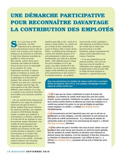 Magazine - Septembre 2010 - Santé Montérégie