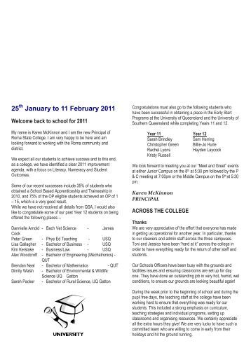 25 January to 11 February 2011 - Roma State College - Education ...