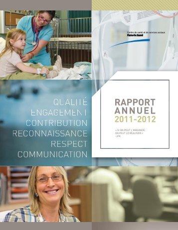 Rapport annuel 2011-2012 - Santé Montérégie