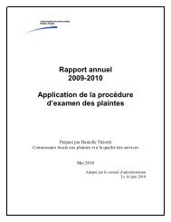 Rapport annuel 2009-2010 Application de la procédure d'examen ...