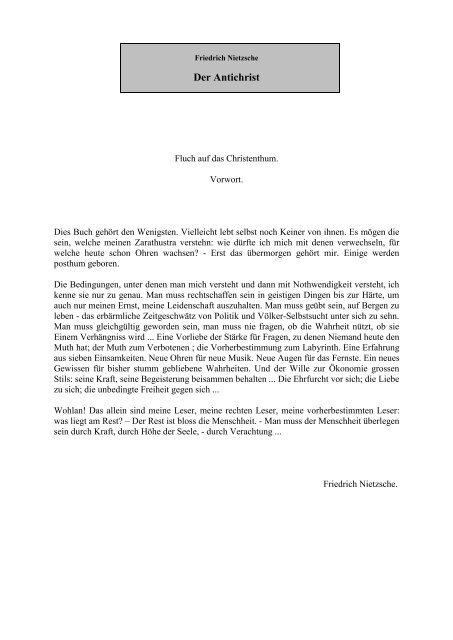 Friederich Nitzsche - Der Antichrist - Sapientia