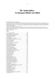 Die Apokryphen - Verborgene Bücher der Bibel