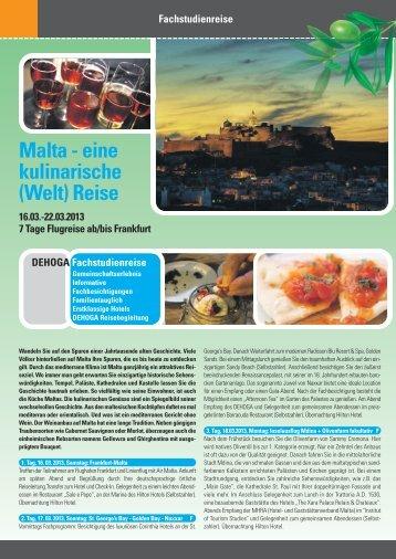 Malta - eine kulinarische (Welt) Reise - DEHOGA Reisen