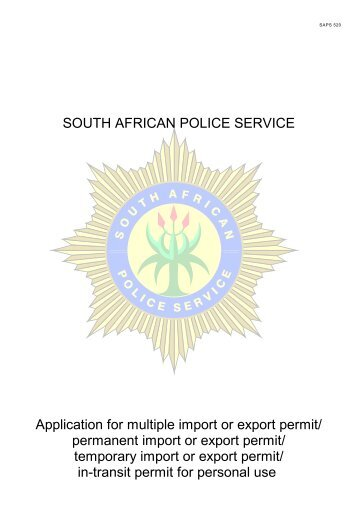 Application for Multiple Import or Export Permit - Saps