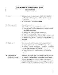 the SARA Constitution - South African Reward Association