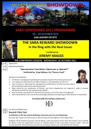 the sara reward showdown - South African Reward Association