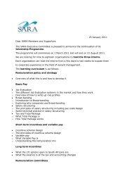 25 January 2011 Dear SARA Members and Supporters The SARA ...