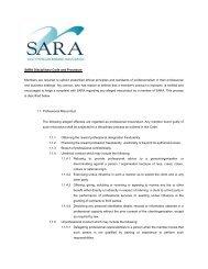 SARA Disciplinary Code and Procedure