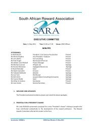 Exco Minutes 11 May 2011 - South African Reward Association