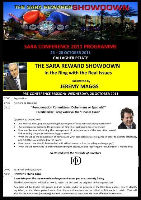the sara reward showdown - South African Reward Association