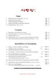 Speisekarte - Sarangbang.de