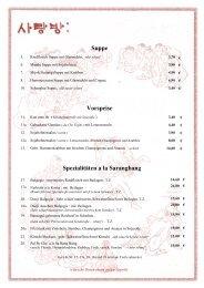 Speisekarte - Sa Rang Bang