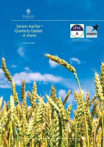 Sarasin AgriSar Quarterly Update - A shares - Bank Sarasin-Alpen