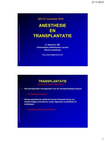 ANESTHESIE EN TRANSPLANTATIE