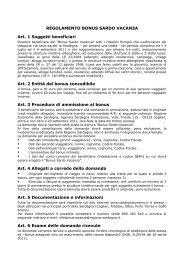 Regolamento e modulo di domanda - Sardegna Turismo
