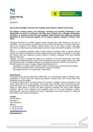 "Press release ""Sarens and Verbrugge Terminals form strategic ..."