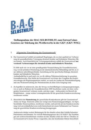 Stellungnahme der BAG SELBSTHILFE zum Entwurf eines ...