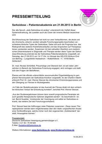 PRESSEMITTEILUNG - Deutsche Sarkoidose-Vereinigung e.V.
