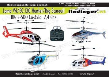 Lama V4/EC-130 Hunter/Big Ecureuil BIG E-500 Co-Axial 2,4 Ghz
