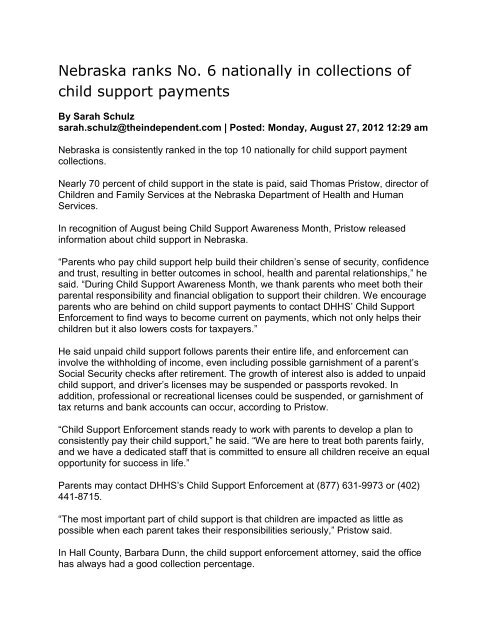 Child Support News - Sarpy County Nebraska
