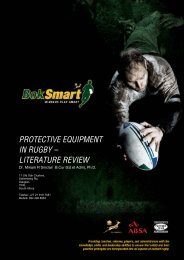 protective equipment in rugby – literature review - SA Rugby