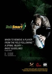 BokSmart Guidelines following a Spinal Injury - SA Rugby