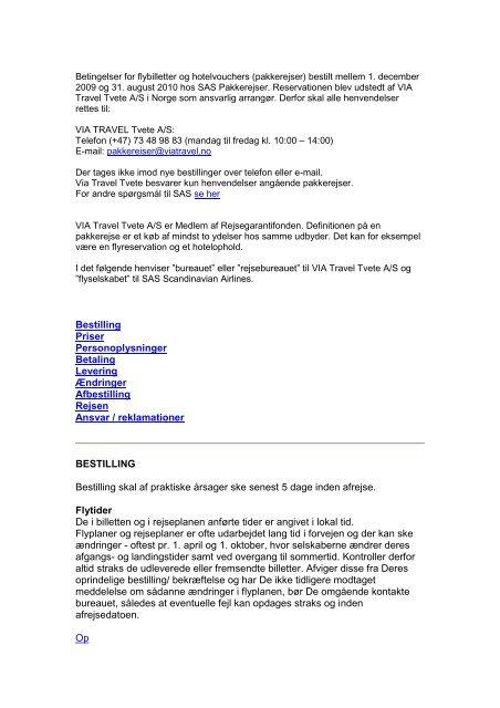 Bestilling Priser Personoplysninger Betaling Levering ... - SAS