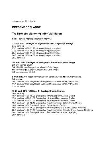 PRESSMEDDELANDE Tre Kronors planering inför VM-lägren - SAS