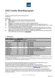 kontrakt med Travel Pass Corporate vilkår - SAS